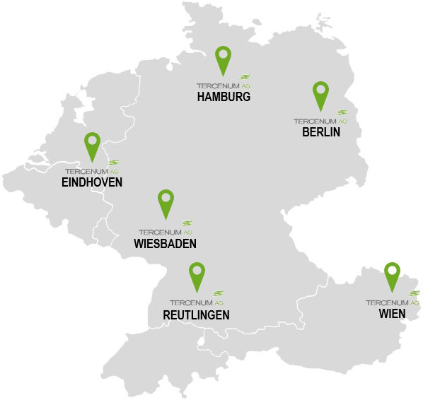 Die Tercenum AG hat verschiedene Standorte in Deutschland, den Niederlanden und Österreich